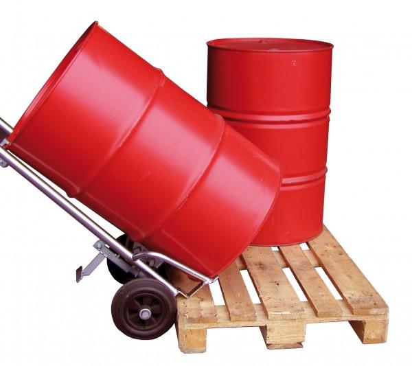 Fasskarre / Fassroller für 200 Liter-Fässer mit Pendelachse, Vollgummi-Bereifung, Höhe 1540 mm