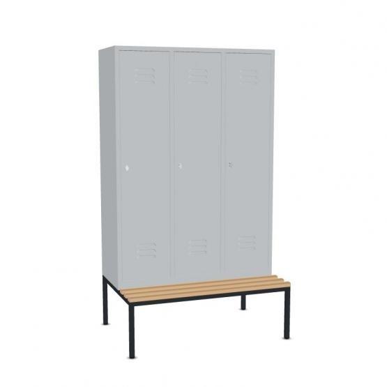 Garderoben-Stahlspinde, 3 Türen mit Sitzbank Breite 1220 mm, 3 Farben