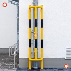 Ramm-Rohrschutz mit Bodenplatte, feuerverzinkt - kunstoffbeschichtet, gelb-schwarz,
