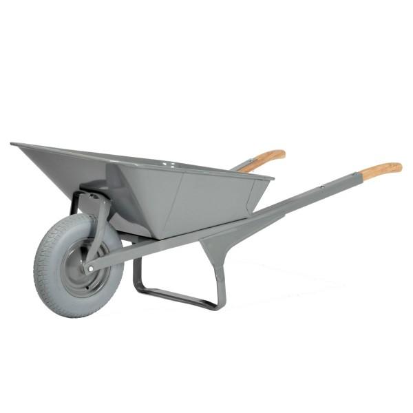 Schubkarre K1, Stahlblechmulde, rechteckig, pannensicher, Tragkraft 250 kg, 200 Liter Inhalt