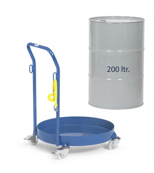 Fassroller 250 kg Tragkraft für 200 Liter Fässer, mit Schiebebügel Höhe 894 mm, 4 Lenkrollen