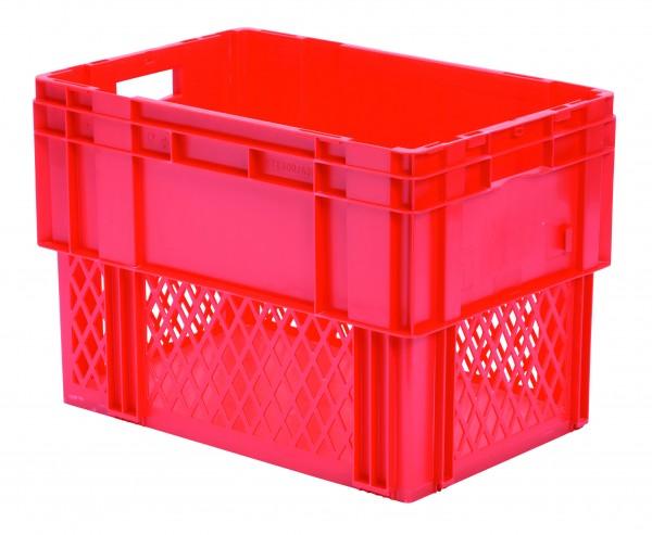 Drehstapelkästen rot DTK 600/420-1 (PP), Wände durchbrochen Boden geschlossen, VE = 2 Stück