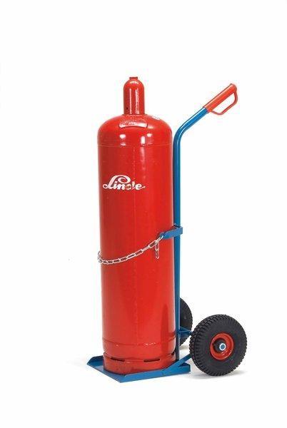 Stahlflaschenkarre für Propangas 100 kg Tragkraft, für 33 kg Inhalt, Kettensicherung, Vollgummirad