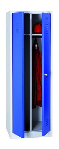 Garderoben-Stahlspinde, 2 Türen mit Sockel, 800x500x1800 mm, RAL7035/5010