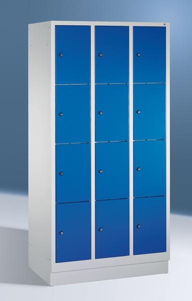 Fächerschränke mit Sockel, Breite 1220 mm, 12 Schließfächer übereinander je 400 mm breit, 3 Farben