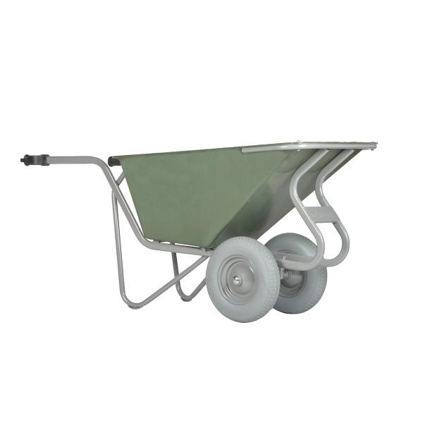 Stall- und Hofkarre, 160 Liter, 250 kg Tragkraft, 2 pannensichere Reifen, Kunststoffmulde grün