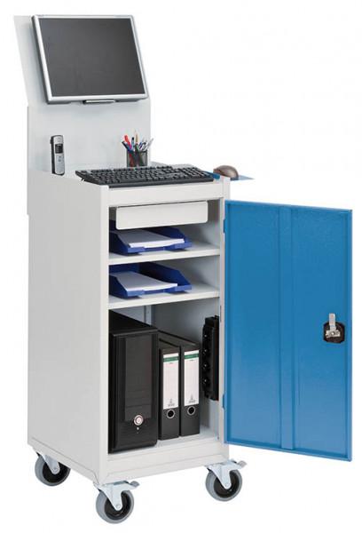 Fahrbarer Computerschrank für PC, Monitorwand, Tastaturablage, 500x500x1725 mm
