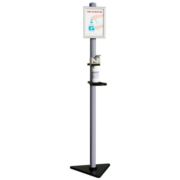 Desinfektionsständer BACIC, BÜGEL-Spender, 750 ml, DIN A4 Klapprahmen, Höhe 1830 mm