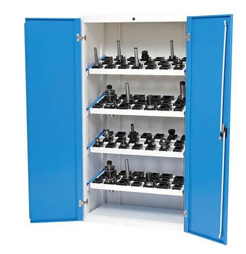 CNC Werkzeugschrank 980x500x1838 mm, inkl. 4 Werkzeugaufnahmerahmen, inkl. CNC-Einsätze