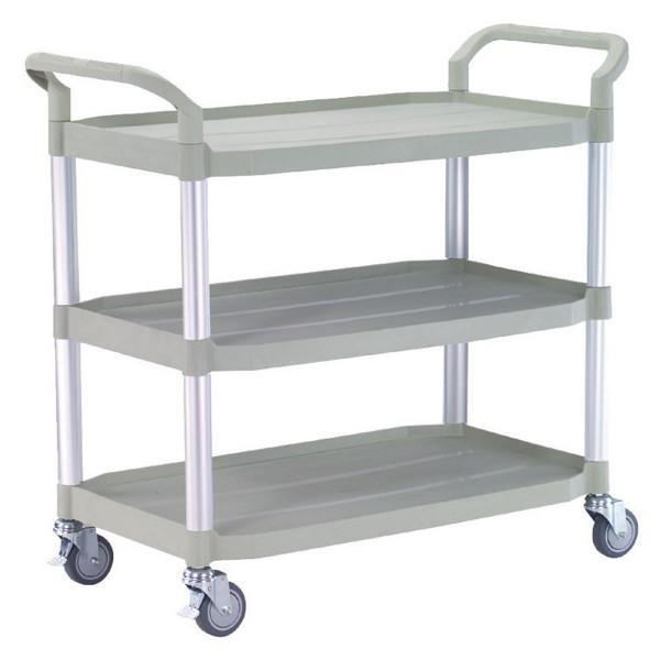 Tischwagen 1100x520 mm, 240 kg Tragkraft, 3 Etagen + Schiebebügel Kunststoff lichtgrau, Aluminium