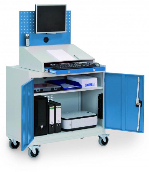 Stationärer PC + Computerschrank mit Arbeitsplatte, Monitorwand, Tastaturfach, 1000x500x1610 mm