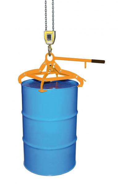 Fassgreifer 4P für stehende 200 Liter Stahl-Spundfässer, 350 kg Tragkraft, Gelborange
