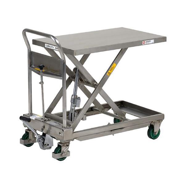 Hubtisch EDELSTAHL 250 kg Tragkraft, 800x500 mm Ladefläche, Hubhöhe 850 mm