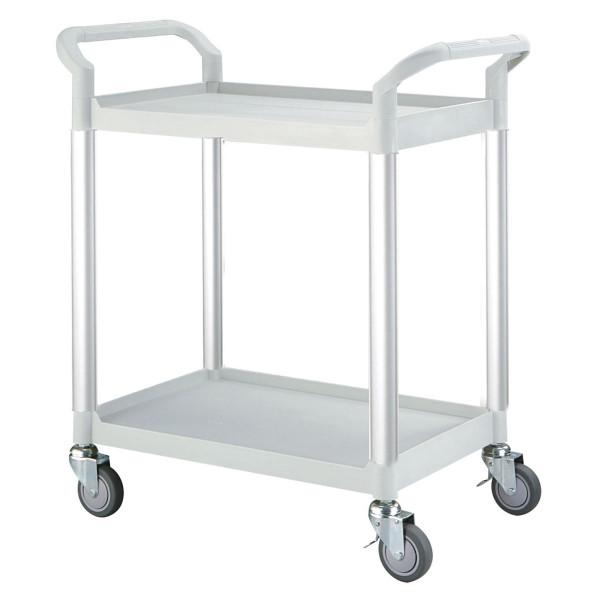 Tischwagen 850x480 mm, 250 kg Tragkraft, Etagen + Schiebebügel aus Kunststoff lichtgrau, Aluminium