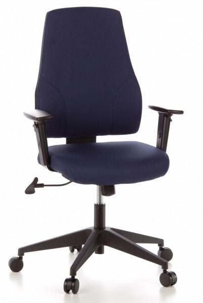 Bürodrehstuhl, 46-59 cm Sitzhöhe mit gepolsteter hoher Lehne + Armlehnen