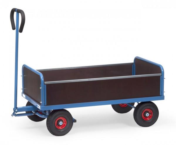 Handwagen 1000x550 mm, 500 kg Tragkraft, Luft-Bereifung, 4 Wände, wasserfeste Ladefläche