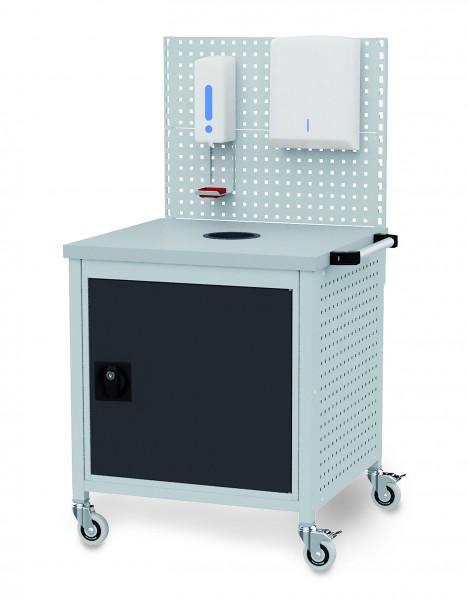 Desinfektionsmittelstation fahrbar mit Desinfektionsmittelspender + Falthandtuchspender