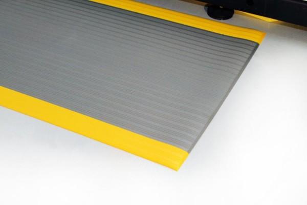 Arbeitsplatzmatte Orthomat® Ribbed, grau/gelb 900 mm x 18,3 Meter