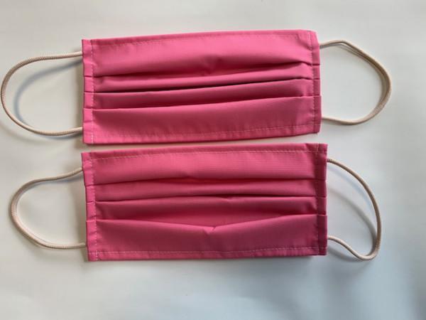 2 Stück Mund - Nasenmasken - pink, 65 PE/ 35 CO, 2-lagig, elastische Ohrbänder