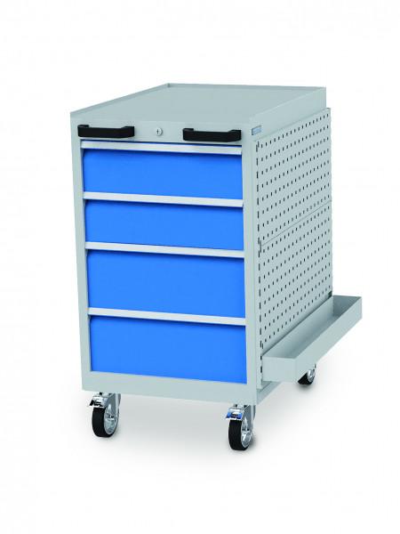 Schubladenschrank 555x736x990 mm, 4 Schubladen,Lochwand + Ablageschale 500 kg Tragkraft, fahrbar