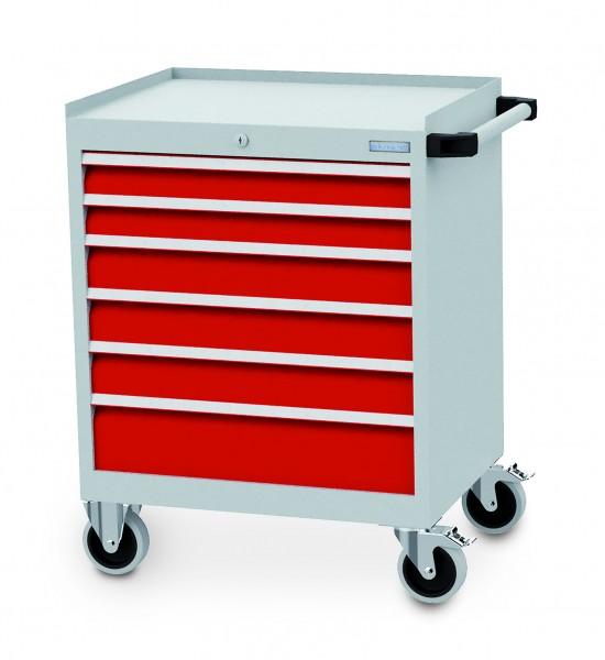 Schubladenschrank fahrbar 680x500x990 mm, 500 kg Tragkraft, 6 Schubladen