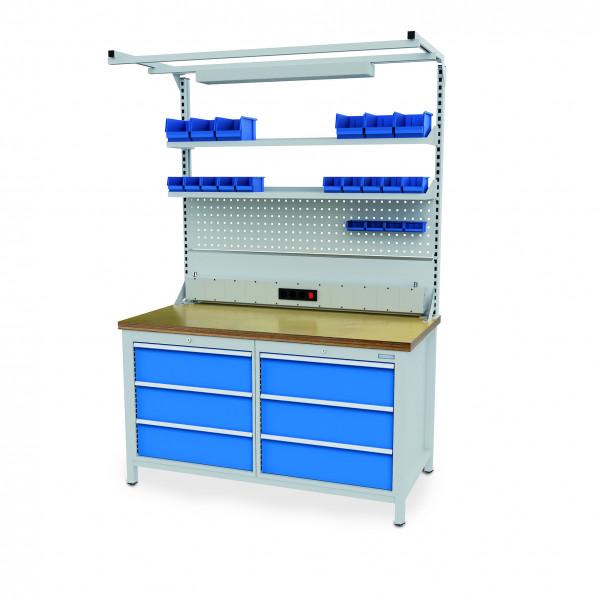 Multi-Werkbank 1500x750x959 mm, Multi-Wand-Aufbau mit Beleuchtung, Tragkraft 1000 kg, höhere Höhe