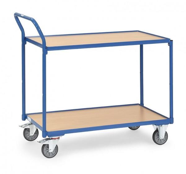 Tischwagen 850x500 mm, 300 kg Tragkraft, 2 Etagen, Holzplattform
