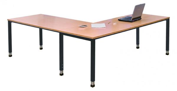 Eck-Schreibtisch 1000x600x670-1030 mm je Seite, höhenverstellbar, ohne Unterbauschrank
