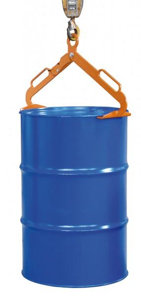 Fasszange für stehende 200 Liter Stahl-Spundfässer, 300 kg Tragkraft, Gelborange