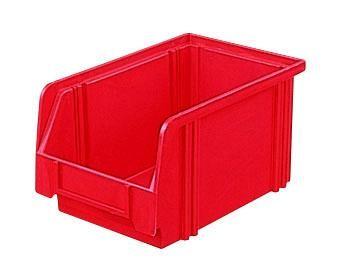 Sichtlagerkästen LK 3 rot 230x140x130 mm, aus Polystyrol (PS), stapelbar, VE = 25 Stück