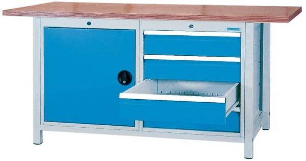 Kastenwerkbank 1500x750x859 mm, 1 Schrank, 4 Schubladen, 1000 kg Tragkraft
