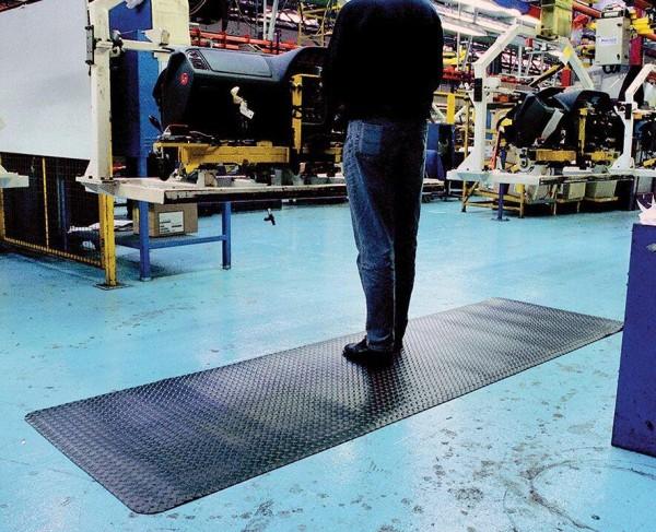Arbeitsplatzmatte Diamond Deckplate, schwarz, 600 mm x 18,3 Meter