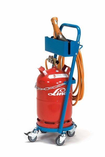 Gasflaschenroller für Propangas 80 kg Tragkraft, 11 kg Inhalt, Schlauchhalterung und TPE-Bereifung