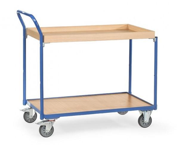 Leichter Tisch- und Werkstattwagen, 850x500 mm, 300 kg Tragkraft, Abrollkante, Holzplattformen