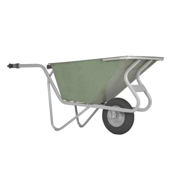Stall- und Hofkarre, 160 Liter, 250 kg Tragkraft, Luftreifen, Kunststoffmulde grün