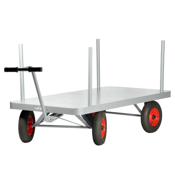 Pritschenwagen 2000x1000 mm, 1000 kg Tragkraft, Metall-Ladefläche mit Rungen, Luft-Reifen schwarz