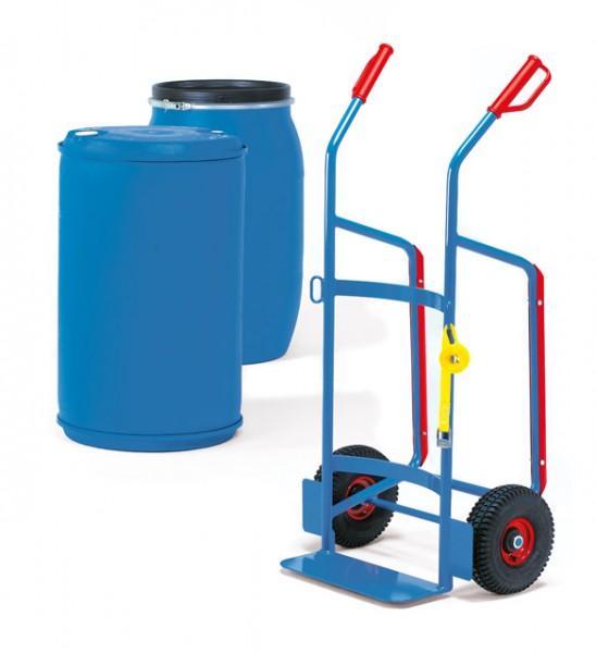Fasskarren für 120-200-Liter Kuststoff-Fässer, 250 kg Tragkraft, Vollgummi-Bereifung