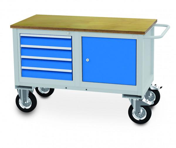 Mobile Werkbank 1200x600x820 mm, 500 kg Tragkraft, 1 Schubladen, 1 Flügeltür, fahrbar