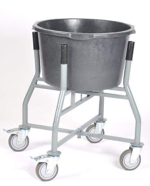 Eimerhalter fahrbar für Farbeimer oder Kübel 65/90 Liter, Ø 500x270 mm, Höhe 747 mm, 4 Lenkrollen