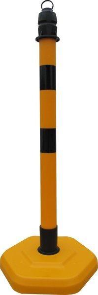 Kettenpfosten Multimax mit schwarzen Streifen, einzeln, gelb-schwarz