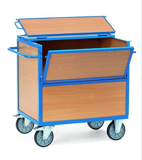 Kastenwagen mit Deckel, Holz 600 kg Tragkraft, 2 Größen