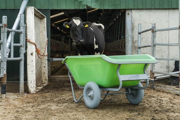 Stall- und Hofkarre, 350 Liter, 250 kg Tragkraft, 2 pannensichere Reifen, Kunststoffmulde grün