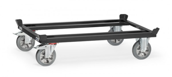 Paletten-Fahrgestelle, anthrazit 1200 kg Tragkraft, 1200x800 mm, Elastic-Vollgummi