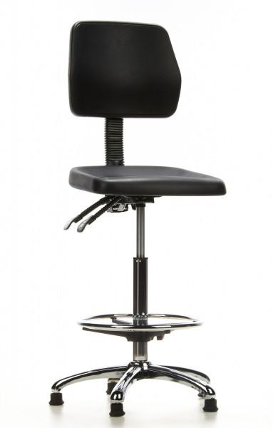 Arbeitsdrehstuhl, Sitzhöhe 59-84 cm , Fußring, feststehend, Lehne verstellbar