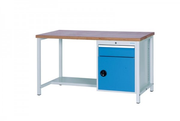 Werkbank 2000x750x959 mm, 1000 kg Tragkraft, 1 Schublade, 1 Schrank, höhere Arbeitshöhe