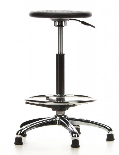 Arbeitsdrehhocker, Sitzhöhe 58-83 cm , Fußring, feststehend, höhenverstellbar