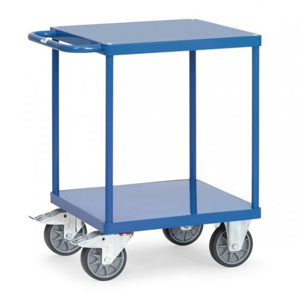 Schwerer Tisch- und Montagewagen, 600x600 mm, 500 kg Tragkraft, Stahlblechplattform