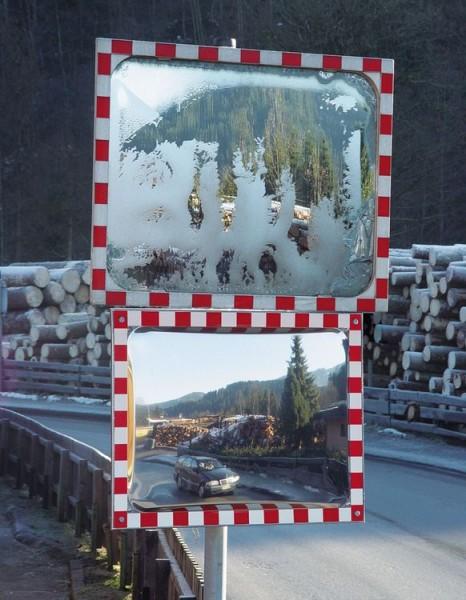 Verkehrsspiegel DURABEL IceFree, 800 x 1000 mm, aus Edelstahl, Beobachterabstand 15 m