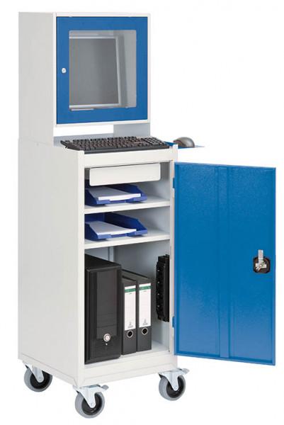 Fahrbarer Computerschrank für PC, Monitorschrank, Tastaturablage, 500x500x1750 mm