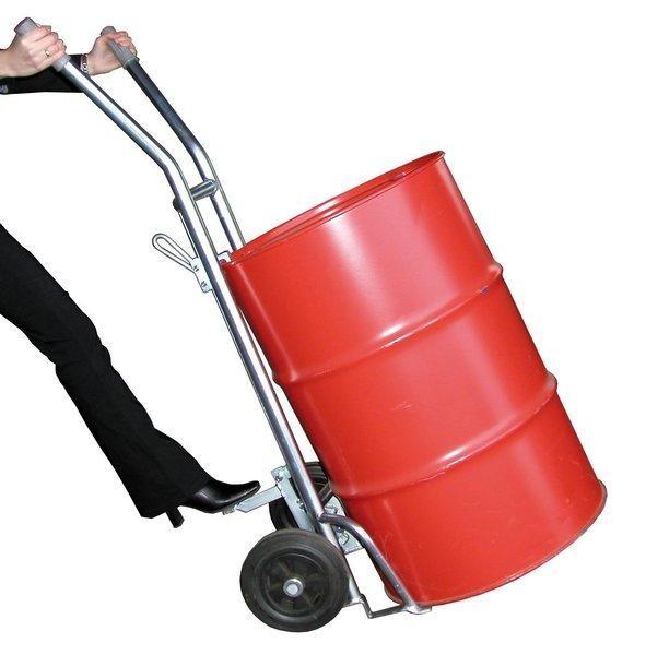 Fassroller / Fasskarre für 200 Liter-Fässer mit Pendelachse, Luft-Bereifung, Höhe 1540 mm